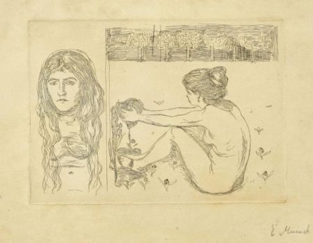 Edvard Munch-Woman with Long Hair; The Woman and the Heart-1896