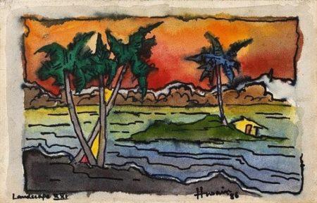 Maqbool Fida Husain-Landscape XXI-1986