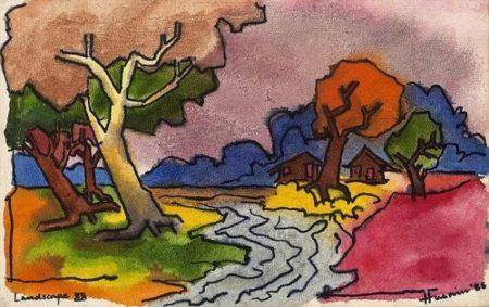 Maqbool Fida Husain-Landscape XX-1986