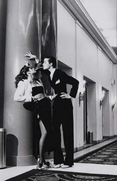 Helmut Newton-Woman Into Man, Lighting A Cigarette, Yves Saint Laurent Pour Vogue, (1979)-1979