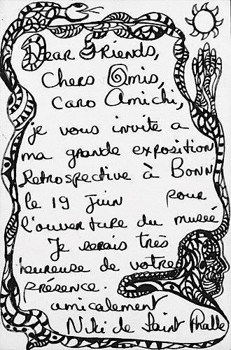 Niki de Saint Phalle-Projet pour carton d'invitation-