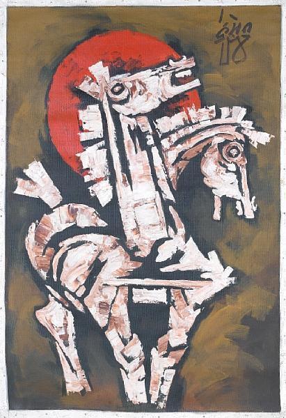 Maqbool Fida Husain-Horses Head-1984