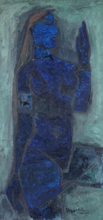 Maqbool Fida Husain-The Blue Lady-1959