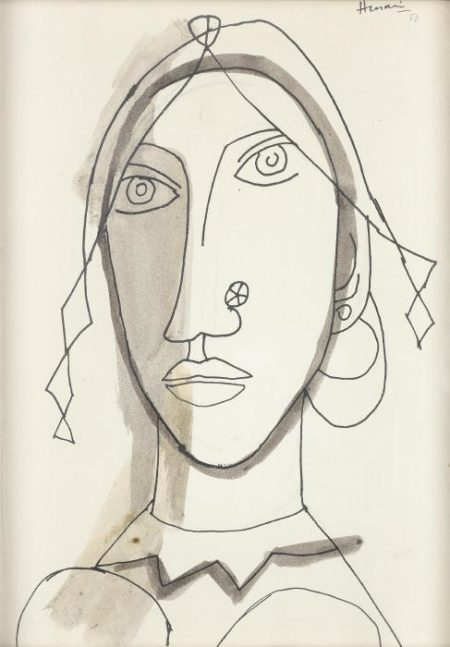 Maqbool Fida Husain-Untitled (Head)-1958