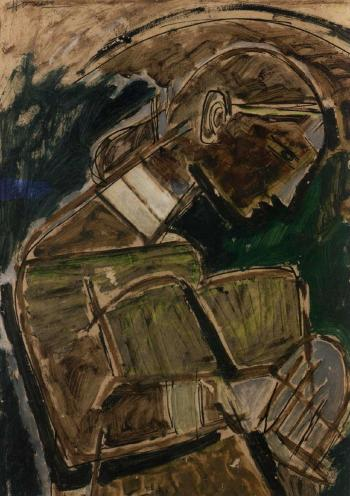 Maqbool Fida Husain-The young Lady with Drums-