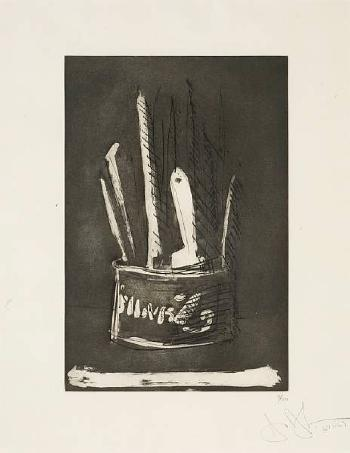 Paint Brushes: One Plate from 1st Etchings, 2nd State-1969