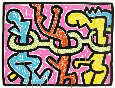 Keith Haring-Keith Haring - Flowers II, from Flowers-1990