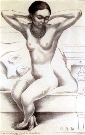 Diego Rivera-Nude with Beads (Frida Kahlo)-1930