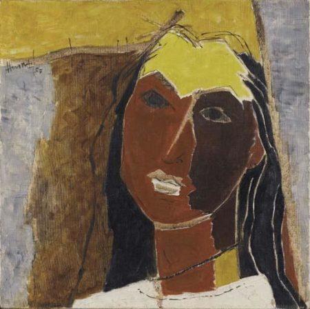 Maqbool Fida Husain-Untitled (Portrait of Sonali Das Gupta, wife of Roberto Rossellini)-1959