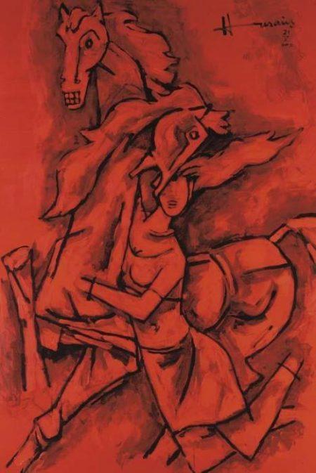 Maqbool Fida Husain-Untitled (Woman and Horses)-2002