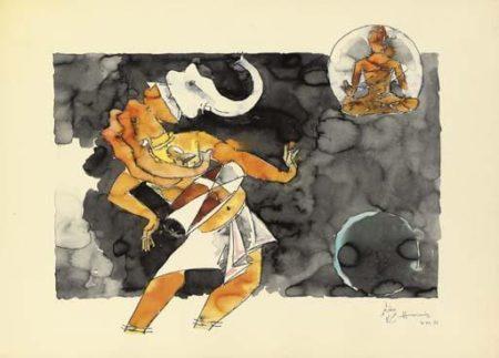 Maqbool Fida Husain-Untitled (Ganesha)-1972