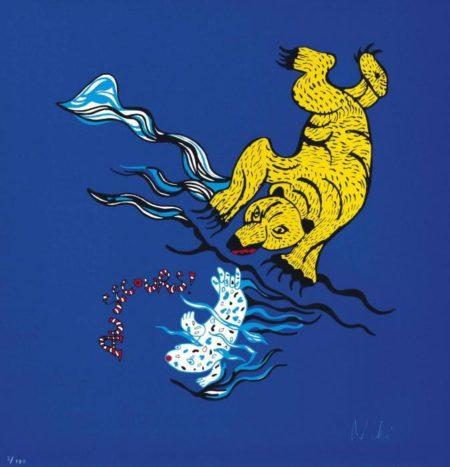Niki de Saint Phalle-Ours et Phoque (sur fond bleu)-
