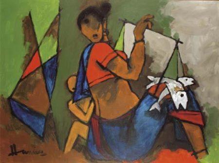 Maqbool Fida Husain-Fisherwoman-