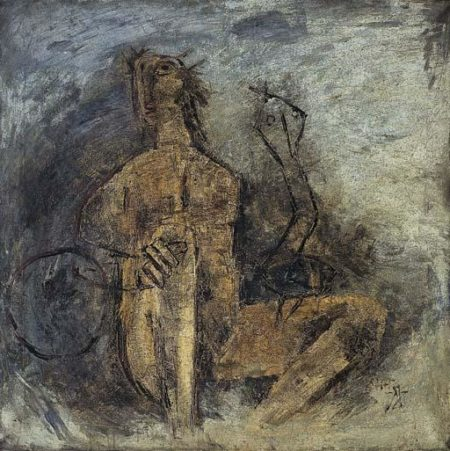 Maqbool Fida Husain-Untitled (Woman And Snake)-