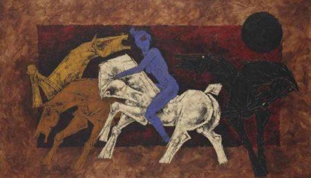 Maqbool Fida Husain-Untitled (Horses and Rider) (Horses and blue Nude)-1979