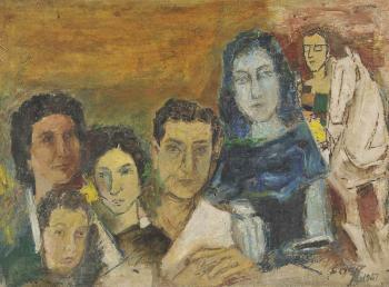 Maqbool Fida Husain-Untitled (Family Portrait)-1967