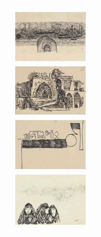 Maqbool Fida Husain-Untitled (Baghdad Series)-1965
