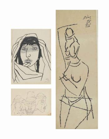 Maqbool Fida Husain-(i) Untitled (Face of a Girl); (ii) Untitled (Faces); (iii) Untitled (Woman)-1969