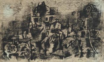 Maqbool Fida Husain-Untitled (Landscape)-1962