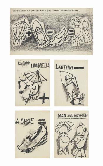 Maqbool Fida Husain-Cow Umbrella plus Lantern minus a Shoe is equal to Man and Woman-1967