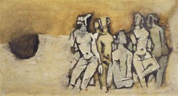 Maqbool Fida Husain-Untitled (Female Figures)-1960