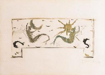 Lucio Fontana-Studio per formella in ceramica-1950
