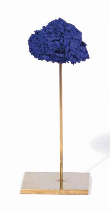Yves Klein-Sculpture eponge bleue sans titre (SE 297)-1961