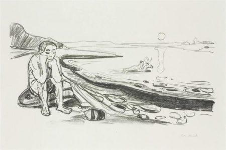 Edvard Munch-Omega's Flight / Omegas Flukt (S. 323, W. 353)-1909