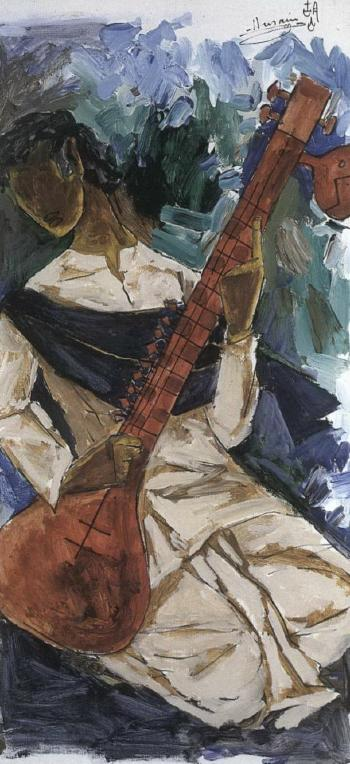 Maqbool Fida Husain-Veena Player-
