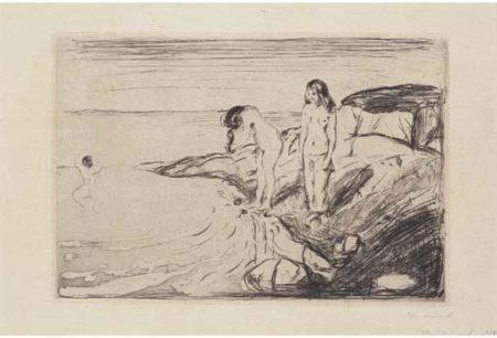 Edvard Munch-Badende Madchen / Badende Frauen / Badende Kvinner / Women Bathing-1895