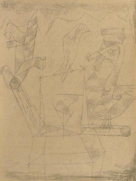 Paul Klee-Vogel Wappenartig-1917
