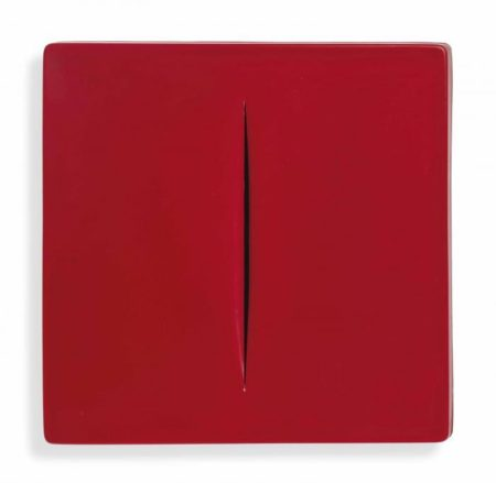 Lucio Fontana-Concetto Spaziale (Red)-1968
