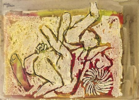 Maqbool Fida Husain-Untitled (Lovers)-1972