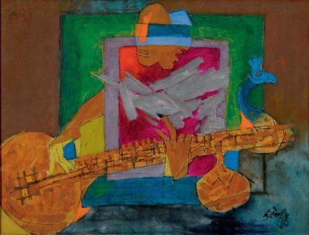 Maqbool Fida Husain-Untitled (Veena Player) (Celebration)-