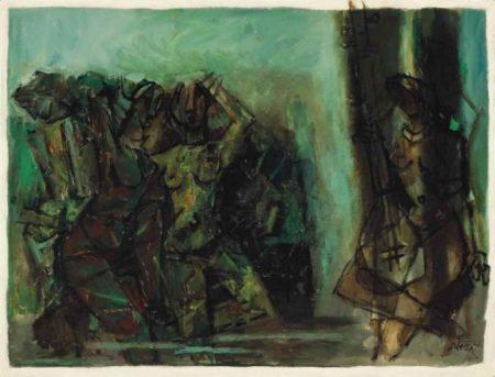 Maqbool Fida Husain-Untitled (Dancers and Musician)-1983