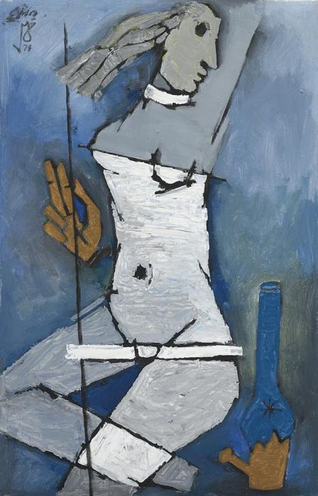 Maqbool Fida Husain-Untitled (Lady on a Trapeze)-1973