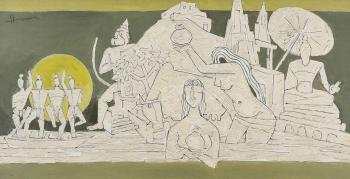 Maqbool Fida Husain-Untitled (Benares)-1980
