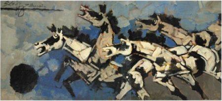 Maqbool Fida Husain-Untitled (Horses)-1970