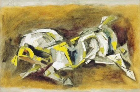 Maqbool Fida Husain-Untitled (Yellow Horse)-