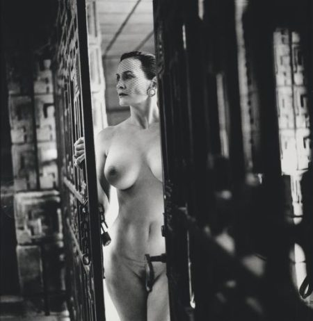 Helmut Newton-Woman Entering Ennis-brown House By Frank Lloyd Wright, Los Angeles, 1990 (1940)-1990