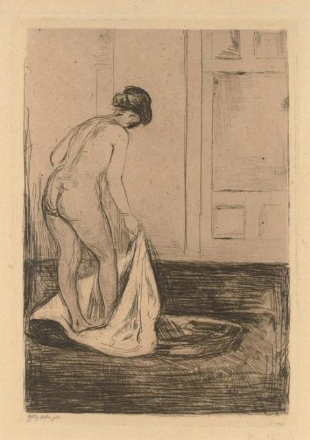 Edvard Munch-Badendes Madchen / Girl Bathing / Kvinne som bader seg / Woman Taking a Bath (Sch. 158; W. 180)-1902