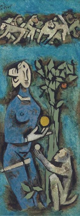 Maqbool Fida Husain-Blue woman with monkey-