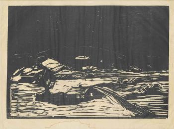 Edvard Munch-Grosse Schneelandschaft / Extensive Snow Landscape / Snowy Landscape / Snolandskap / Winter landscape (Schiefler 118; Wool 134)-1898