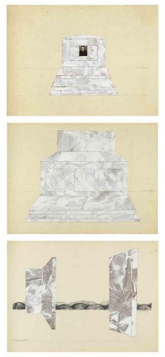 Anselm Kiefer-Manuscript (Tryptichon mit Selbstbildnis)-1969
