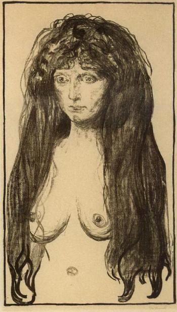Edvard Munch-Kvinne med Rodt Har og Gronne Oyne, Synden / Woman with Red Hair and Green Eyes, The Sin / Aktfigur, Die Sunde / Nude figure, Sin / Madchen mit langen roten Haaren, Die Sunde, Weibliche Aktfigur (Sch. 142; W. 198)-1901
