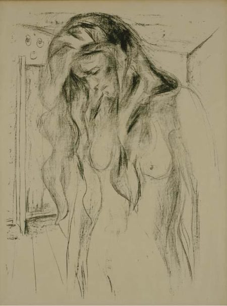 Edvard Munch-Weinende junge Frau / Female nude / Young Woman Weeping (Sch. 502; W. 668)-1922