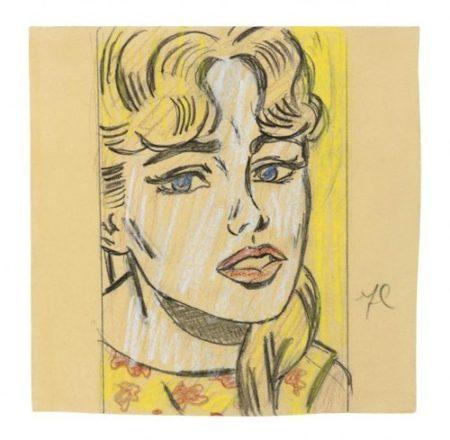 Roy Lichtenstein-Anxious Girl (Study)-1964
