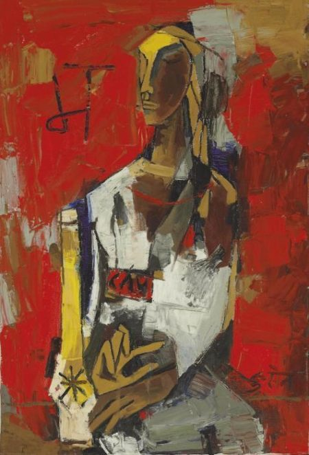 Maqbool Fida Husain-Woman in Red-1964