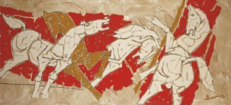 Maqbool Fida Husain-Untitled (Horses)-1980