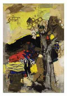 Maqbool Fida Husain-Black Hill-1964